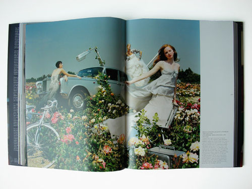Spread of Lily Cole and Erin O'Connor in a flowery field containing an up-ended Rolls Royce.