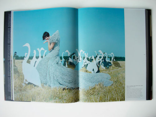Erin O'Connor in a harvested wheat field surrounded by mirrors cut into the shape of giant geese.