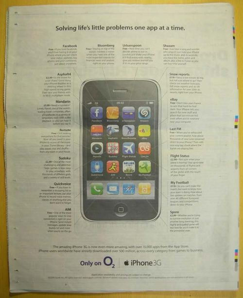 Back cover ad from the Metro for iPhone apps