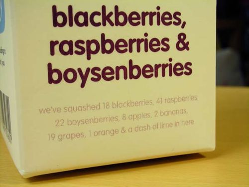 Close-up of the Innocent drinks label