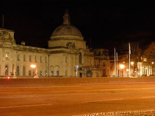 Cardiff City Hall during Earth Hour 2009