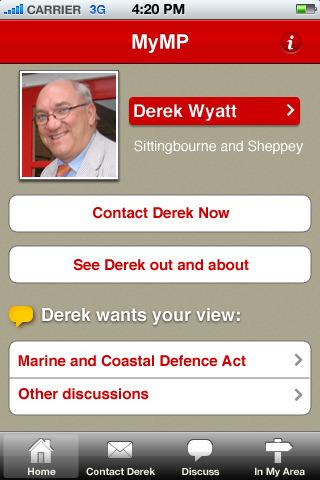The home screen of MyMP configured for Derek Wyatt MP