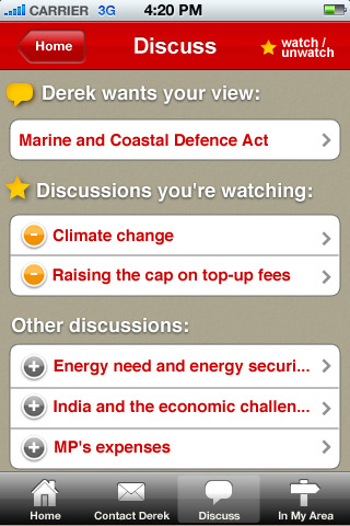 The 'Discussions' screen of MyMP app