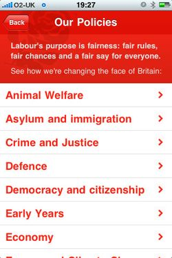 Labour iPhone policies page