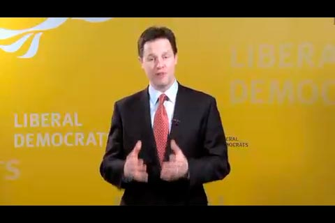 Nick Clegg speaking on the Lib Dem iPhone app