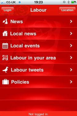 Labour Party iPhone app home screen