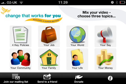 Lib Dem iPhone app home screen.