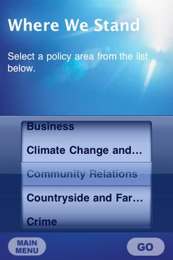 Conservative iPhone app policies page