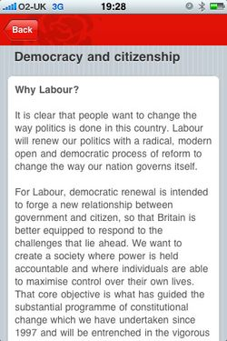 Labour's iPhone app policies screen