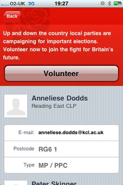 Labour volunteer page on the iPhone app